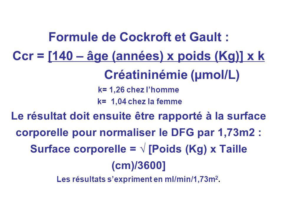 Formule de Cockroft et Gault : Ccr = [140 – âge (années) x poids (Kg)] x k Créatininémie (µmol/L) k= 1,26 chez l'homme k= 1,04 chez la femme Le résultat doit ensuite être rapporté à la surface corporelle pour normaliser le DFG par 1,73m2 : Surface corporelle = √ [Poids (Kg) x Taille (cm)/3600] Les résultats s'expriment en ml/min/1,73m2.